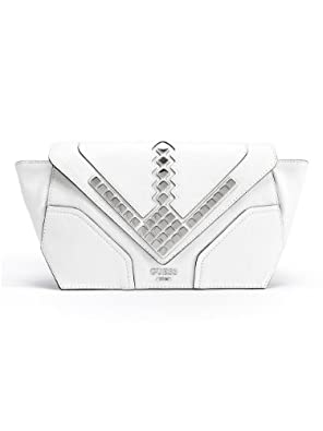 GUESS Marysa Studded Clutch, WHITE