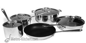 All-Clad Try-Ply Stainless Steel 9 Piece Cookware Set w/ Nonstick Fry Pan (4099-9NS)