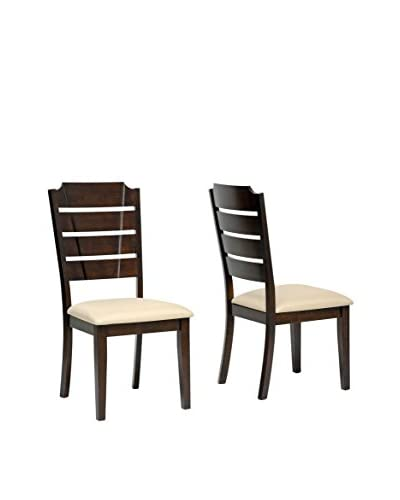 Baxton Studio Set of 2 Victoria Wood Dining Chairs, Beige As You See