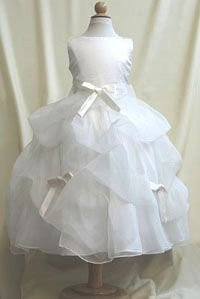 White Flower Girl Dresses - Pickup Style - Bows can be swapped out for color variations!