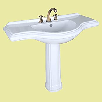 "Pedestal Sink Extra Large White Vitreous China 8"" Widespread Open Back Pedestal Scratch Stain Resist"