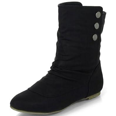 damenschuhe flat boots halbwade stiefeletten ohne absatz. Black Bedroom Furniture Sets. Home Design Ideas