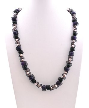 BG Color Crystal and Fresh Water Pearls Linked with Black Lace Necklace