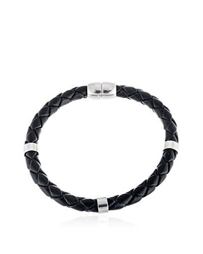 1913 Braided Black Leather Bracelet