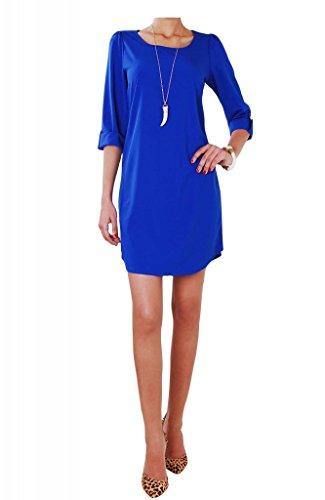 Humble Chic Women's Button Tab Shift Dress - Royal LG Long Sleeve Sheath, Royal Blue