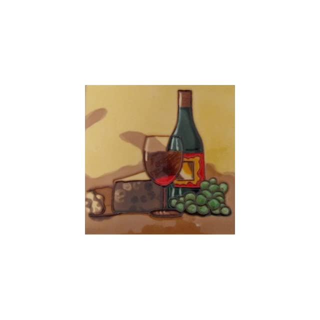 Wine Bottle Cheese Fruit Decorative Wall Art Ceramic Tile 8x8
