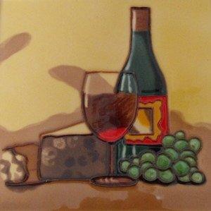 Wine Bottle Cheese Fruit Decorative Wall Art Ceramic Tile 8x8