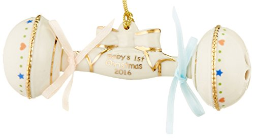 Baby Rattle Ornaments - Lenox 2016 Baby's First Christmas Rattle Ornament