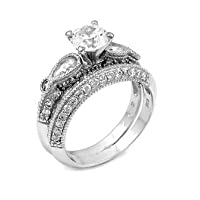 Sterling Silver Wedding Ring Set with Round Cubic Zirconia in Antique Style Prong Setting