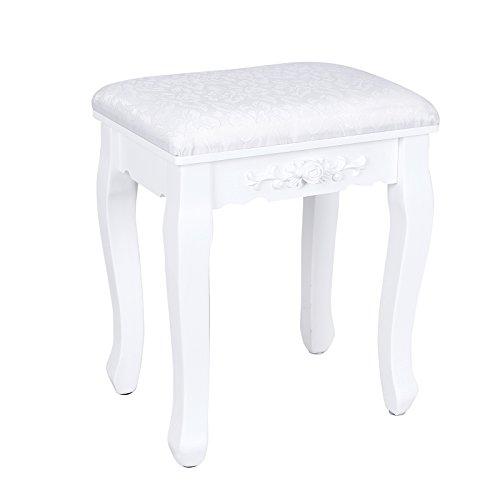songmics tocador mesa para maquillaje buclico blanco con espejo plegable taburete y un cajn rdtw