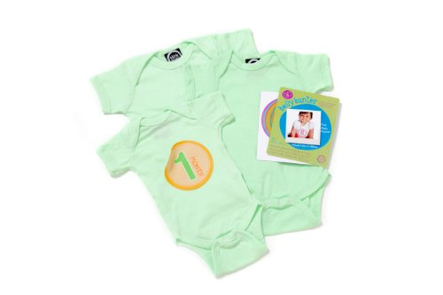Mint - Belly Banter Baby Body Suit 3 Pack and 15 Stickers - Watch Me Grow Newborn Baby Gift Set - Gender Neutral Baby Clothes - Perfect Baby Bodysuits Baby Shower Gift Set +15 BONUS Stickers For Baby Photo Journals
