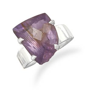 Sterling Silver Faceted Amethyst Ring / Size 7