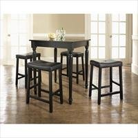 Crosley Furniture KD520012BK 5 Piece Pub Dining Set with Turned Leg and Upholstered Saddle Stools in Black Finish