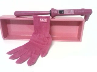 ISO Twister HOT PINK 25-13mm Reverse Barrel Tourmaline Ceramic Hair Curling Iron and Heat-Resistant Glove
