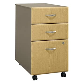 Assembled 3 Drawer File Cabinet w Light Oak Facing - Series A
