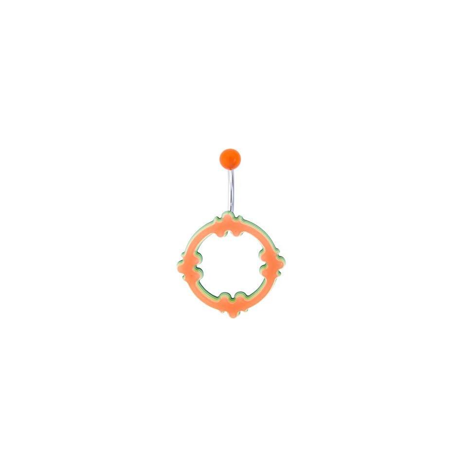 Orange Acrylic Multi Layered Celtic Belly Ring