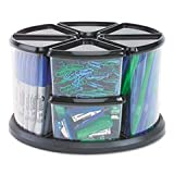 Deflecto 39010104 9-Canister carousel organizer, six 3 & three 6 clear canisters, black lids