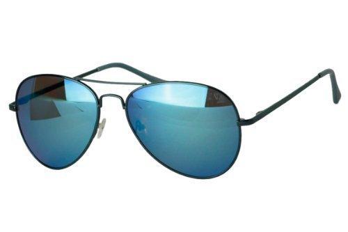 Sense42 verspiegelte Pilotenbrille Blau Fliegerbrille Sonnenbrille Aviator Brille in verschiedenen Faben mit flexiblen Federscharnier Bügel im Brillenbeutel