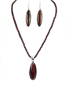 Tiger's Eye Sterling Silver Pendant Enhancer and Necklace and Lever Back Earrings Set Red Color
