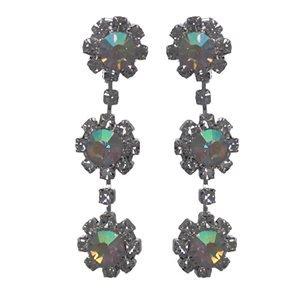 Pastoral Silver Aurora Borealis Crystal Clip On Earrings