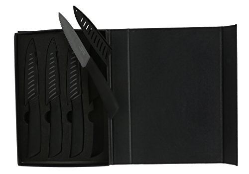 Melange 8-Piece Ceramic Steak Knife Set with Black Handle and Black Blade