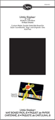 Sizzix 656490 Little Sizzles 6-Inch By 13-Inch Mat Board , 6-Pack, Black Sheets