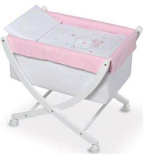 Pirulos 61113014–Minicuna, motivo orsetto Star, colore: bianco/rosa