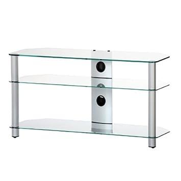 NEO 3110-TG - Mueble de TV con 3 estantes y 110 cms de ancho. Vidrio Transparente / Chasis gris.