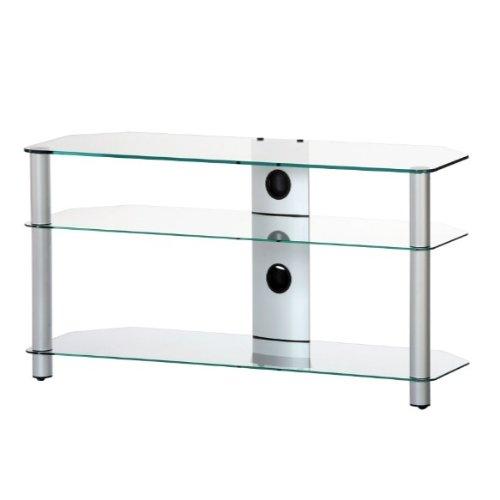 RO&CO M-1303 TG - Mueble TV de 3 estantes. Vidrio transparente / Chasis de color gris. Ancho 130 cms.