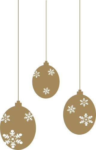3 st ck gro e weihnachtskugeln schneekugeln fenstertattoo selbstklebend in gold. Black Bedroom Furniture Sets. Home Design Ideas