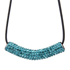 Dazzling Pendant made of swarovski crystals - Aquamarine - the Pendant come with black silk cord necklace with silver fittings - made of Swarovski crystals bling bling!! - necklace is adjustable size 16