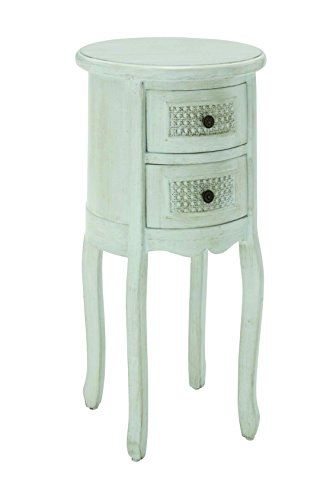 Benzara Wooden Round Shaped Night Stand With 2 Drawers, Antique White front-830550