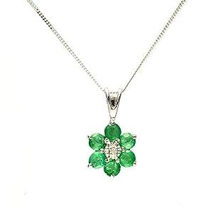 Gemondo Emerald Necklace, 9ct White Gold 0.49ct Emerald & Diamond Cluster Pendant on 45cm Chain