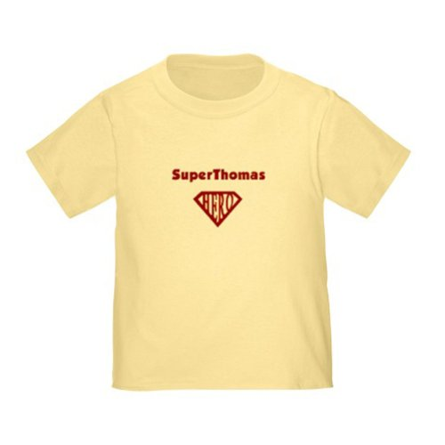 Personalized Superthomas Thomas Superman Super Hero Baby Infant Toddler Kids Shirt - Customize With Any Boy Or Girls Name, Christmas Present Custom Superhero Gift Collection front-105733