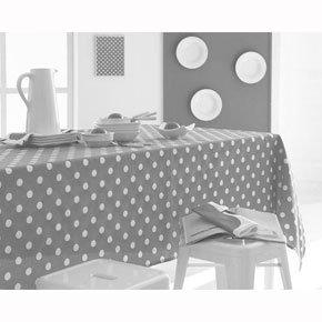 Nappe rectangulaire coton/polyester à pois gris (existe en 5 coloris
