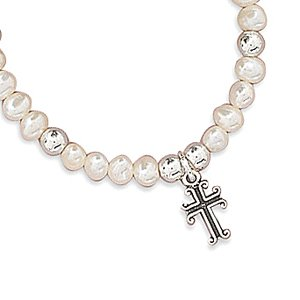5 Inch Cultured Freshwater Pearl/Sterling Silver Bead/Oxidized Cross Children's Bracelet