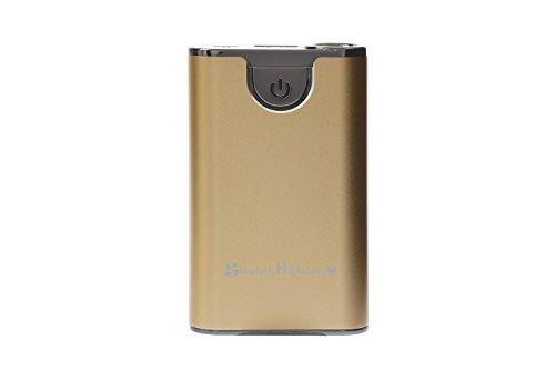 正規輸入品 SimPrettyHighClass 世界最小クラス 大容量モバイルバッテリー 超高品質!10000mAh (市販の20000mAh相当) ハイパワー/ iPhone5S 5C 5 4S 4 / iPad Mini Retina / iPod / Galaxy Xperia Nexus5 Android / 各種スマホ / Wi-Fiルーター等対応 大容量&コンパクト 90mm×55mm×20mm (日本語説明書付き) 緊急時・外出時の充電切れに nosmartphone スマートフォン充電に 超強力150ルーメン相当ライト付 防災 停電対策にも gold ゴールド 金色