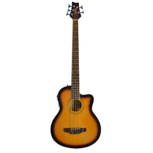 5 String Cutaway Tobacco Sunburst Acoustic Electric Bass with 4 EQ &#8211; &#038; DirectlyCheap(TM) Translucent Blue Medium Guitar Pick