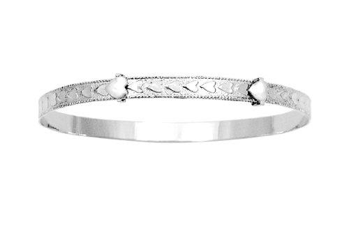 Sterling Silver Children's Adjustable Heart Pattern Bracelet