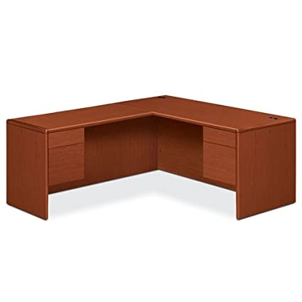 "HON HONBON10700JJ13 10700 Series L-Shaped Desk With Two 3/4 Height Pedestals, 78"" x 66"", Henna Cherry"