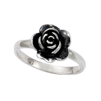 Sterling Silver Rose Flower Band Ring - Size K