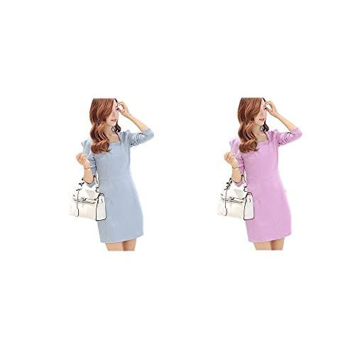 ESTERA ワンピース レディース S M L 長袖 上品 フォーマル (ブルー, S)