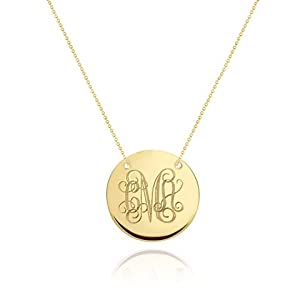 Gold Monogram Necklace - Initial Disc Necklace - Wedding Bridesmaid Necklaces - Gold Filled Necklace 24 Inches