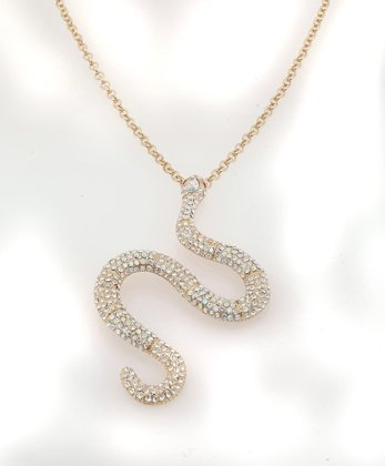 Gold Plated Curling Snake Necklace With Free Shipping & Gift Box