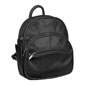 Genuine Leather Mini Backpack Handbag/Purse With Sling & Side Cell Phone Pocket ~ Black In Color