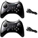 Poulep Wireless Controller Compatible with Nintendo Wii U Pro Console - Bluetooth Gamepad Joystick Dual Analog with USB Charging Cable(Black and Black) (Color: Black1 and Black1)