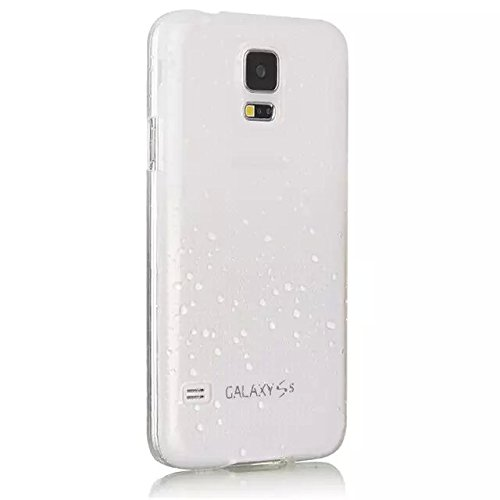 Vandot 1X Zubehör set für Samsung Galaxy S5Mini G800 Smartphone (11,43 cm (4,5 Zoll) 3D Regen Rain Drop 0.5MM Ultra Dünn Clear Hard Silikon Transparent Hülle Regentropfen Tropfen Hüllen Schutzhülle Tasche Etui Harte Protection Case Protective Cover Weiß