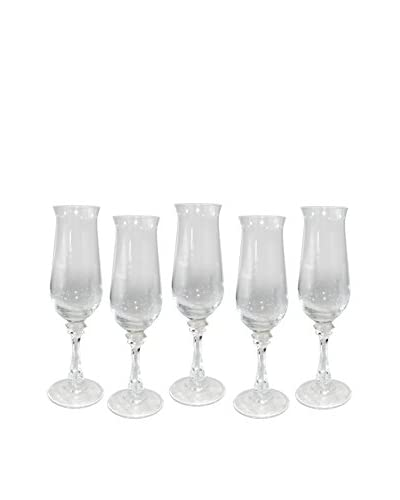 Uptown Down Set of 5 Champagne Flutes, Clear