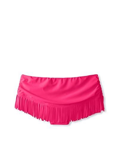 Jessica Simpson Women's Desert Solid Skirted Fringe Bikini Bottom  [Passion]
