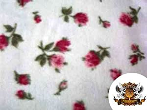 Fleece Printed Floral Roses Red Fabric By the Yard